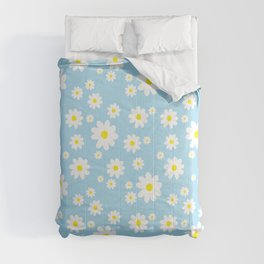Spring Daisy Pattern Light Blue Comforters