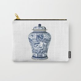 Blue & White Chinoiserie Cranes Porcelain Ginger Jar Carry-All Pouch
