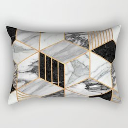 Marble Cubes 2 - Black and White Rectangular Pillow