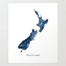 New Zealand Map Blue Watercolor by Zouzounio Art Art Print
