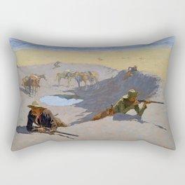 "Frederic Remington Western Art ""Fighting for the Waterhole"" Rectangular Pillow"