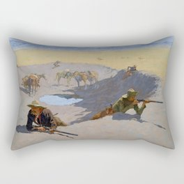 "Frederic Remington Western Art ""Fighting for the Waterhole"" Rectangular Pillow"