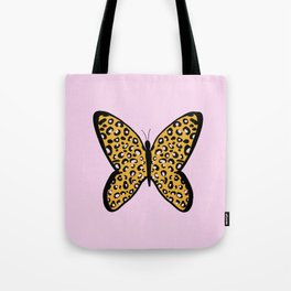Pink Cheetah Leopard Print Butterfly Tote Bag