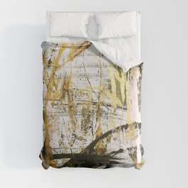 Armor [9]:a bright, interesting abstract piece in gold, pink, black and white Comforters