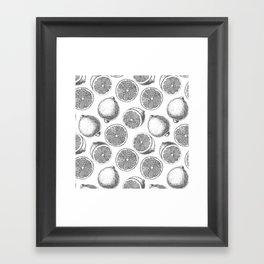 Lemons hand drawn pattern Framed Art Print