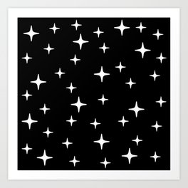 Mid Century Modern Star Pattern 443 Black and White Art Print