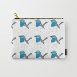 Illustrated Blue Wren with Line Art Carry-All Pouch
