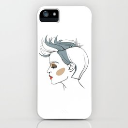 Woman with trendy haircut. Abstract face. Fashion illustration iPhone Case