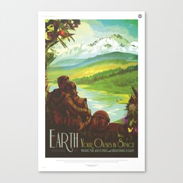 Earth Retro Space Poster Canvas Print
