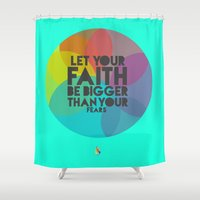 faith Shower Curtains featuring Faith by Papel Pintado
