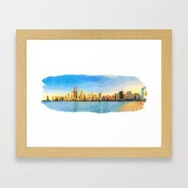 Watercolor Painting - Chicago Skyline At Sunset Viewed From North Avenue Beach by Miroslav Liska Edi Framed Art Print