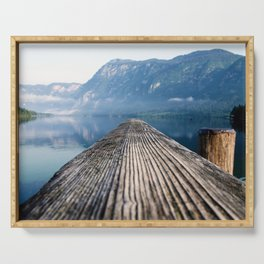 Pier At Lake Bohinj In Triglav National Park Slovenia Ultra HD Serving Tray