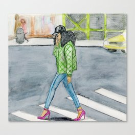 Coily Girl In The City Canvas Print