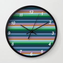 Blue,Green & Orange Stripes Wall Clock