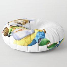 A sea otter cooking Floor Pillow