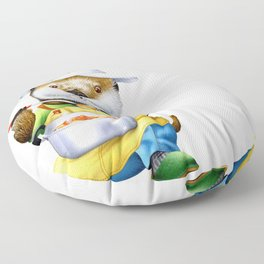 A sea otter cooking Floor Pillow