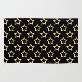 Stars. Gold and black pattern. Rug