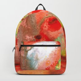 Om - Red Meditation - Abstract Art By Sharon Cummings Backpack
