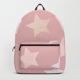 sweet pastel dusty pink golden colors stars pattern Backpack