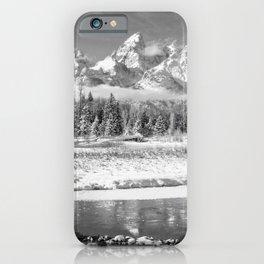 Grand Teton Winter Black & Winter Wyoming National Park Mountain Landscape iPhone Case
