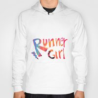 runner Hoodies featuring Runner Girl by Cole Design