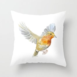 Robin in Flight Watercolor Throw Pillow