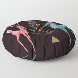 Midcentury Pink And Aqua Holiday At The North Pole Floor Pillow