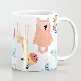 Cute Colorful Youth Print of Adorable Baby Animals Pattern Coffee Mug