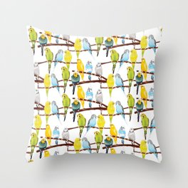 Watercolour Budgie Pattern Throw Pillow
