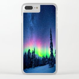 Aurora Borealis Over Wintry Mountains Clear iPhone Case