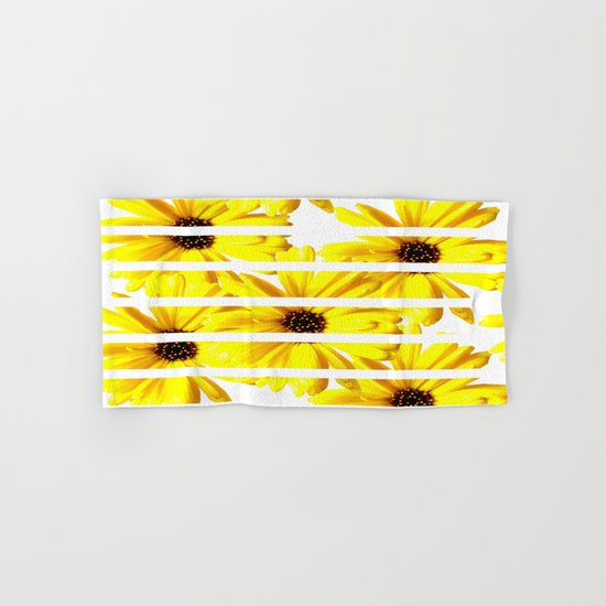 Yellow Mellow Daisies with White Stripes Hand & Bath Towel