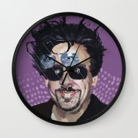 tim burton Wall Clocks featuring Tim Burton by Pazu Cheng