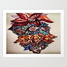 Three Eyed Flower Faced Watercolor Painting. Art Print