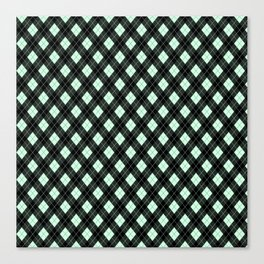 Summermint Green and Black Argyle Plaid Pattern Canvas Print