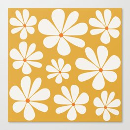 Floral Daisy Pattern - Golden Yellow Canvas Print