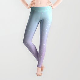 Turquoise and Lavender Pastel Bokeh Effect Ombre Leggings