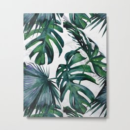 Tropical Palm Leaves Classic on Marble Metal Print