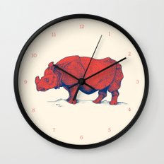 Red Rhino Wall Clock