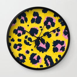 Yellow leopard with pink spots Wall Clock