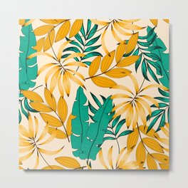 Summer seamless tropical pattern with bright plants and leaves on a pastel background. Seamless exotic pattern with tropical plants. Exotic jungle wallpaper. Tropical botanical. Metal Print