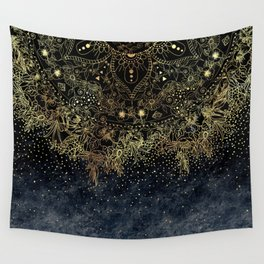 Stylish Gold floral mandala and confetti Wall Tapestry