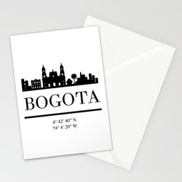 BOGOTA COLOMBIA BLACK SILHOUETTE SKYLINE ART Stationery Cards