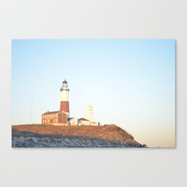 Sunset at Lighthouse in East Hampton Canvas Print