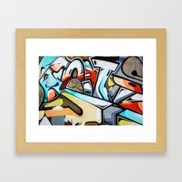 Graffiti blue cyan woman abstract impressionist street art colorful red gray yellow spraypaint urban Framed Art Print