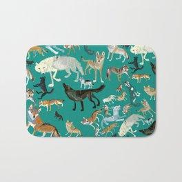 Wolves of the World Green pattern Bath Mat