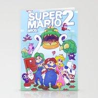 mario bros Stationery Cards featuring Mario Bros. 2 nostalgia  by Damon Fernandez