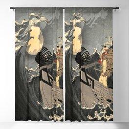 Benkei Calming the Waves at Daimotsu Bay :Tsukioka Yoshitoshi - One Hundred Aspects of the Moon Blackout Curtain