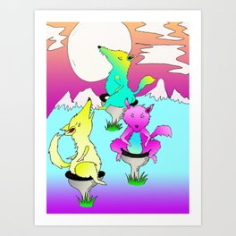 three wolf toilet moon Art Print