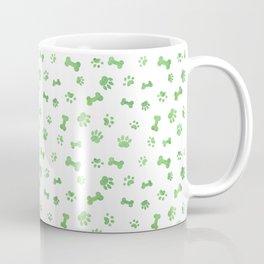 Green Watercolor Dog Paws & Bones Coffee Mug