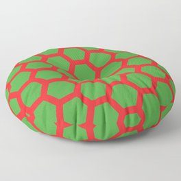 Red on Green Holiday Honeycomb Modern Design Floor Pillow